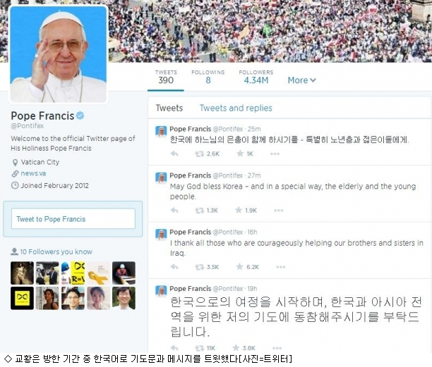 프란체스코교황 트위터